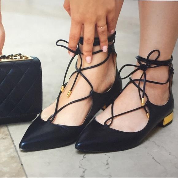 3903a76dc Aquazzura Shoes | Christy Laceup Pointed Toe Flats | Poshmark
